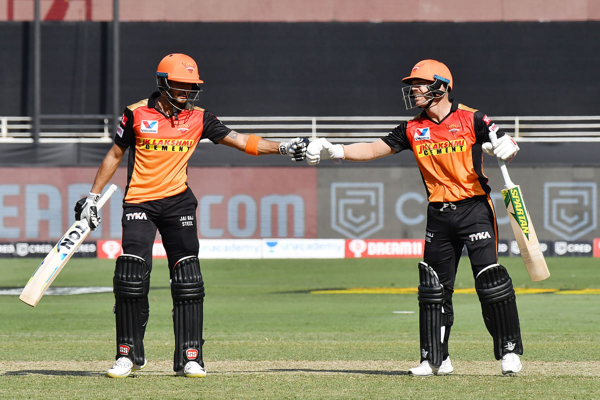 Number three batsman Manish Pandey then joined skipper Warner at the crease as the duo steadied SRH's ship on a difficult wicket.