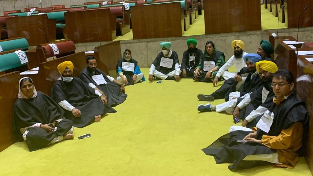 Punjab AAP MLAs Stage Protest Inside Assembly Over Farm Bill