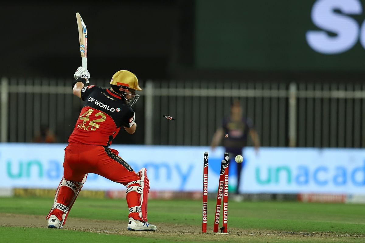 Aaron Finch  bowled by Prasidh Krishna of Kolkata Knight Riders during match 28 of season 13 of the Dream 11 Indian Premier League (IPL).