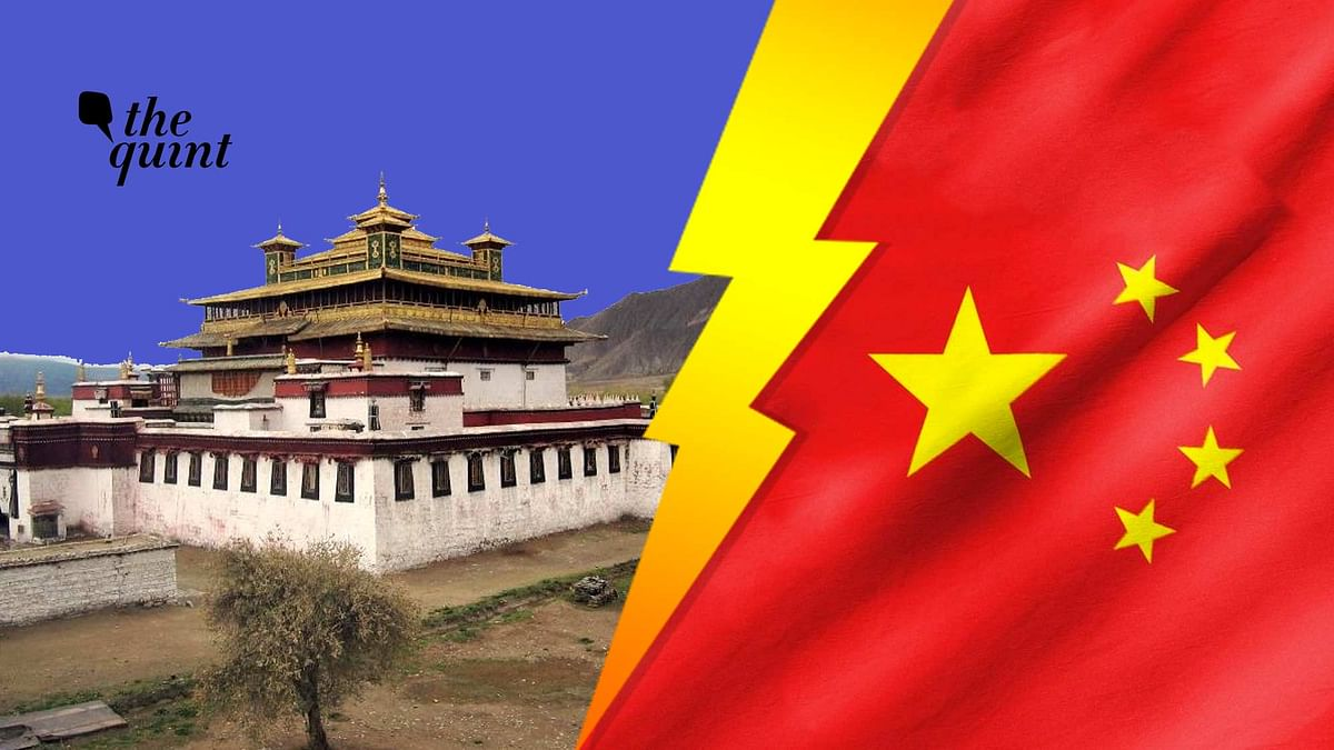 Samye, the first gompa (Buddhist monastery) built in Tibet (775-779) (Left) and Chinese flat (Right) used for representational purposes.