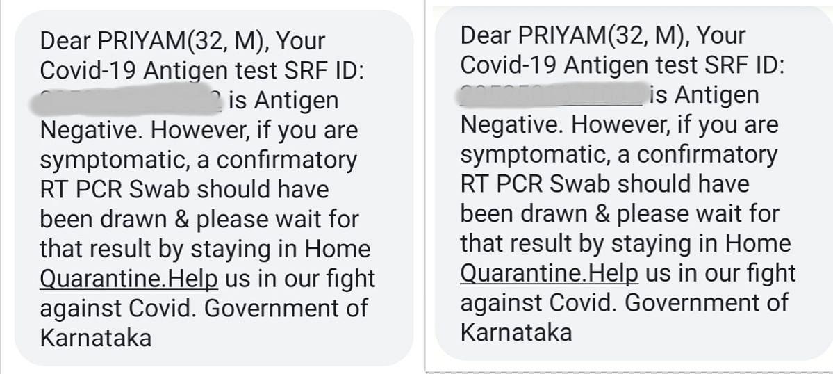 Priyam was tested negative twice.