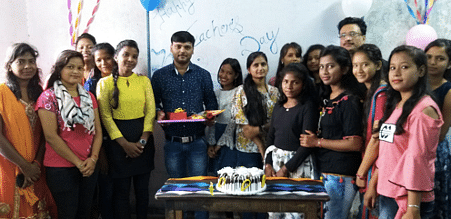 Ajay with his batch of students on the occasion of Teacher's Day 2017.