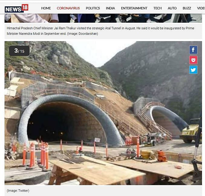 Several media organisations and social media users started sharing an image of the Devils Slide Tunnel in California as that of the Atal Tunnel.(Photo: Altered by <b>The Quint</b>)