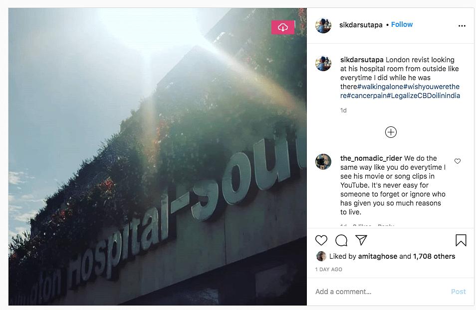 Sutapa Sikdar shares photo of the London hospital where Irrfan Khan was treated.