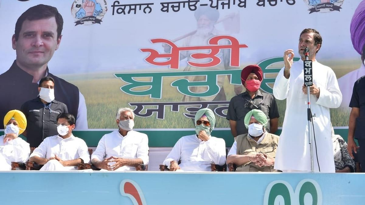 Congress leader Rahul Gandhi participates in a tractor rally and addresses farmers for the second day of the three-day 'Kheti Bachao Yatra' in Punjab on Monday, along with other leaders, including Chief Minister Amarinder Singh.