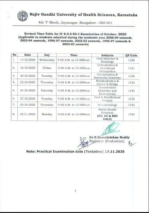 Datesheet for BDS examinations.