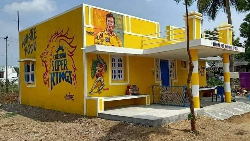 An MS Dhoni fan in Tamil Nadu's Cuddalore district has painted his house in CSK's colours.
