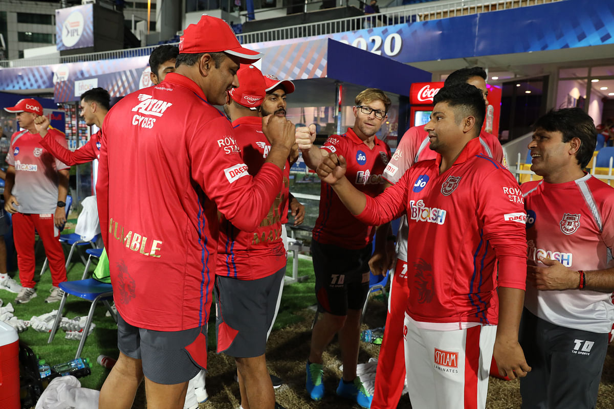 Kings X1 Punjab team celebrate win match 31 of season 13 of the Indian Premier League (IPL ) between the Royal Challengers Bangalore and the Kings XI Punjab.