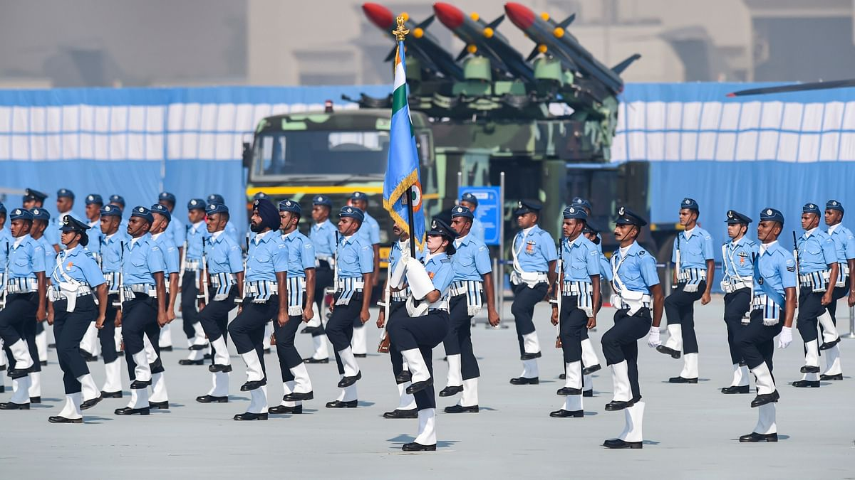IAF personnel march past during the 88th Air Force Day celebrations at Hindon airbase in Ghaziabad.