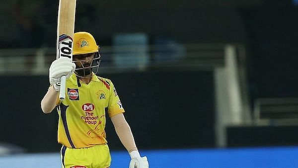 Ruturaj Gaikwad celebrates his half century vs KKR.