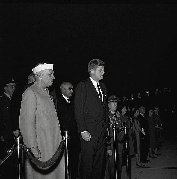 PM Jawaharlal Nehru and President John F. Kennedy participate in arrival ceremonies for Nehru; 6 November 1961.