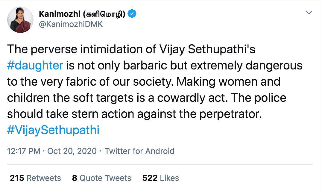 FIR Over  Rape Threat Tweet to Vijay Sethupathi's Daughter