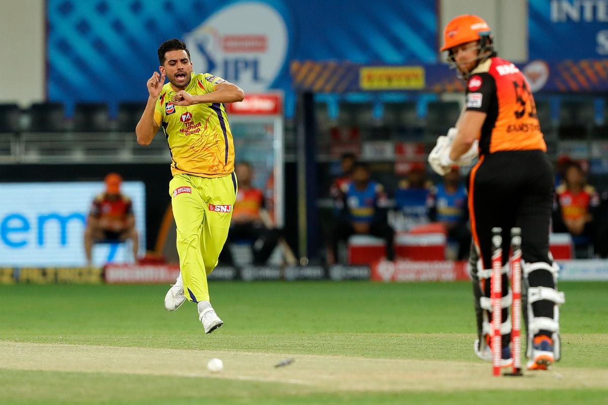 Deepak Chahar of Chennai Superkings  celebrates the wicket of  Jonny Bairstow of Sunrisers Hyderabad.