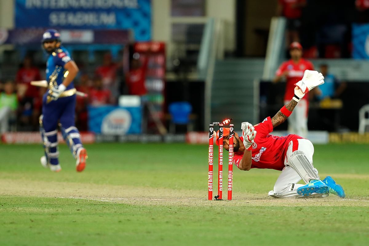 A stunning run out effected by KL Rahul dismissed de Kock and tied the Super Over.