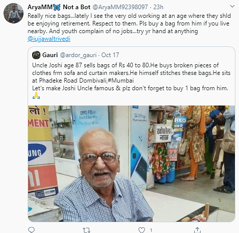 Twitter Supports 87 Year Old Mumbai Man Selling Recycled Bags