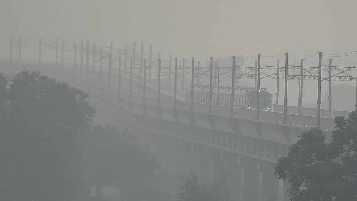 A metro train runs on a track in hazy weather, in New Delhi, Wednesday, 14 October, 2020. Image used for representation only.
