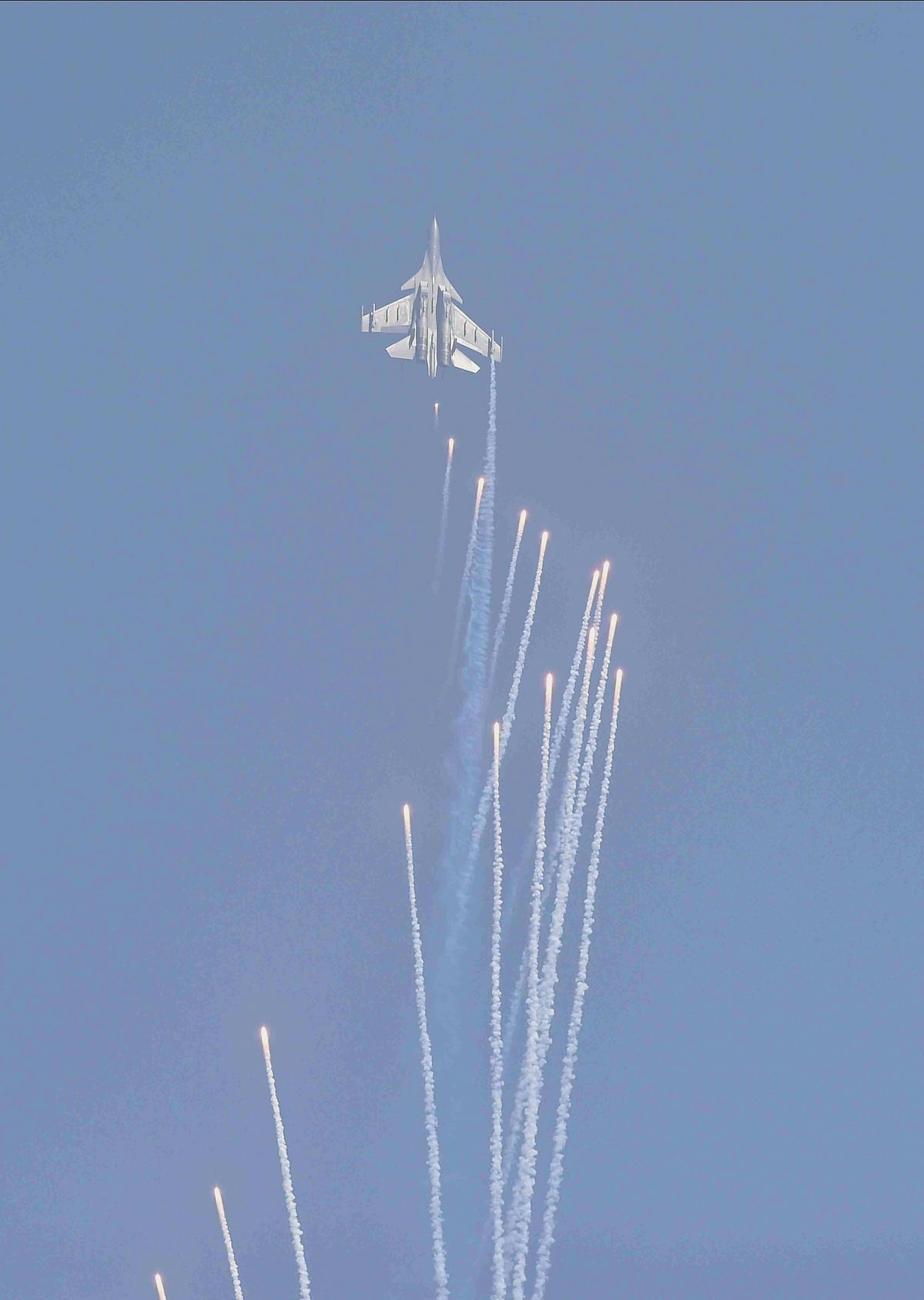Su-30 aircraft of the Indian Air Force fires flares during the 88th Indian Air Force Day celebrations, at Hindon Airbase in Ghaziabad, .