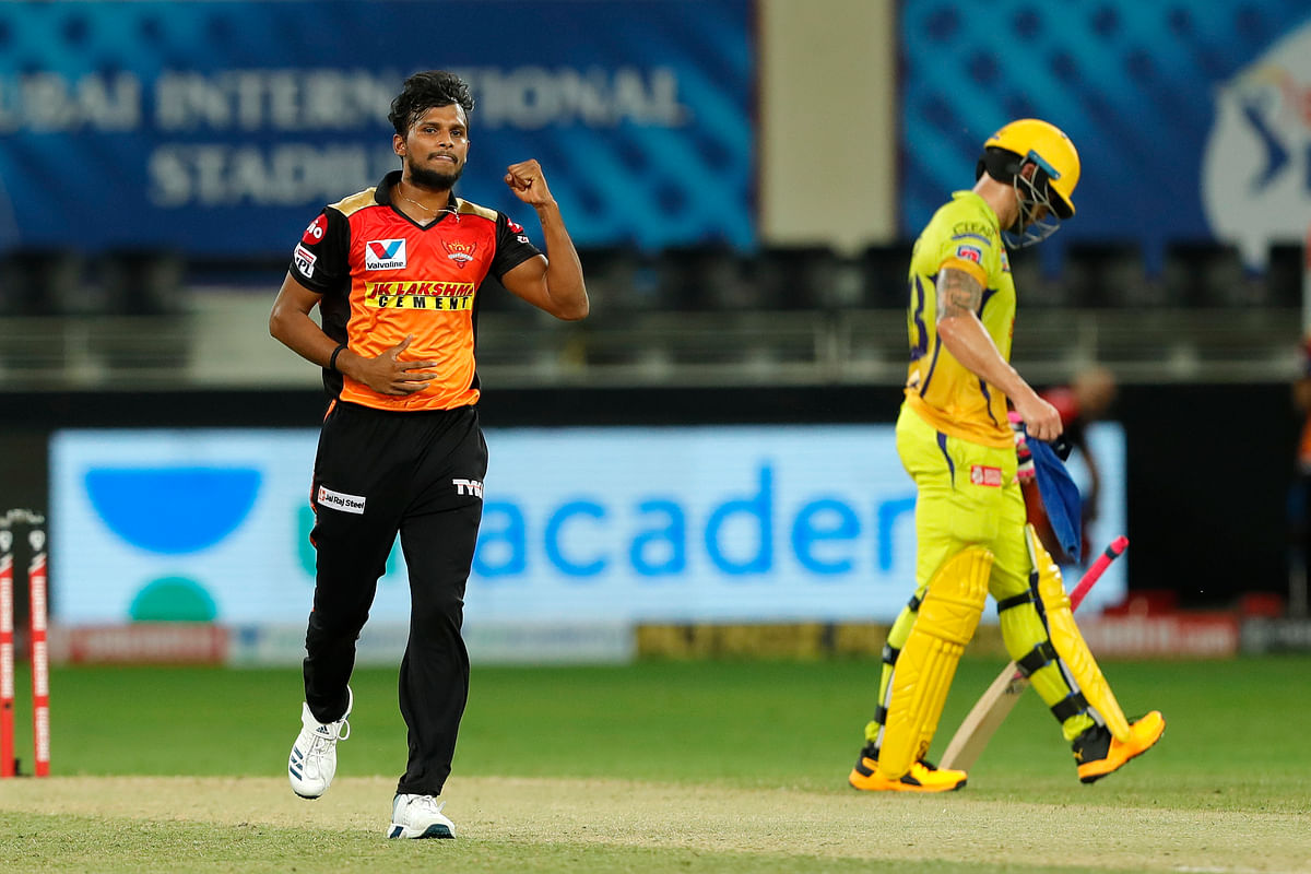 T Natarajan has nine wickets in eight games at an economy of 8.55 and is 10th on the list.