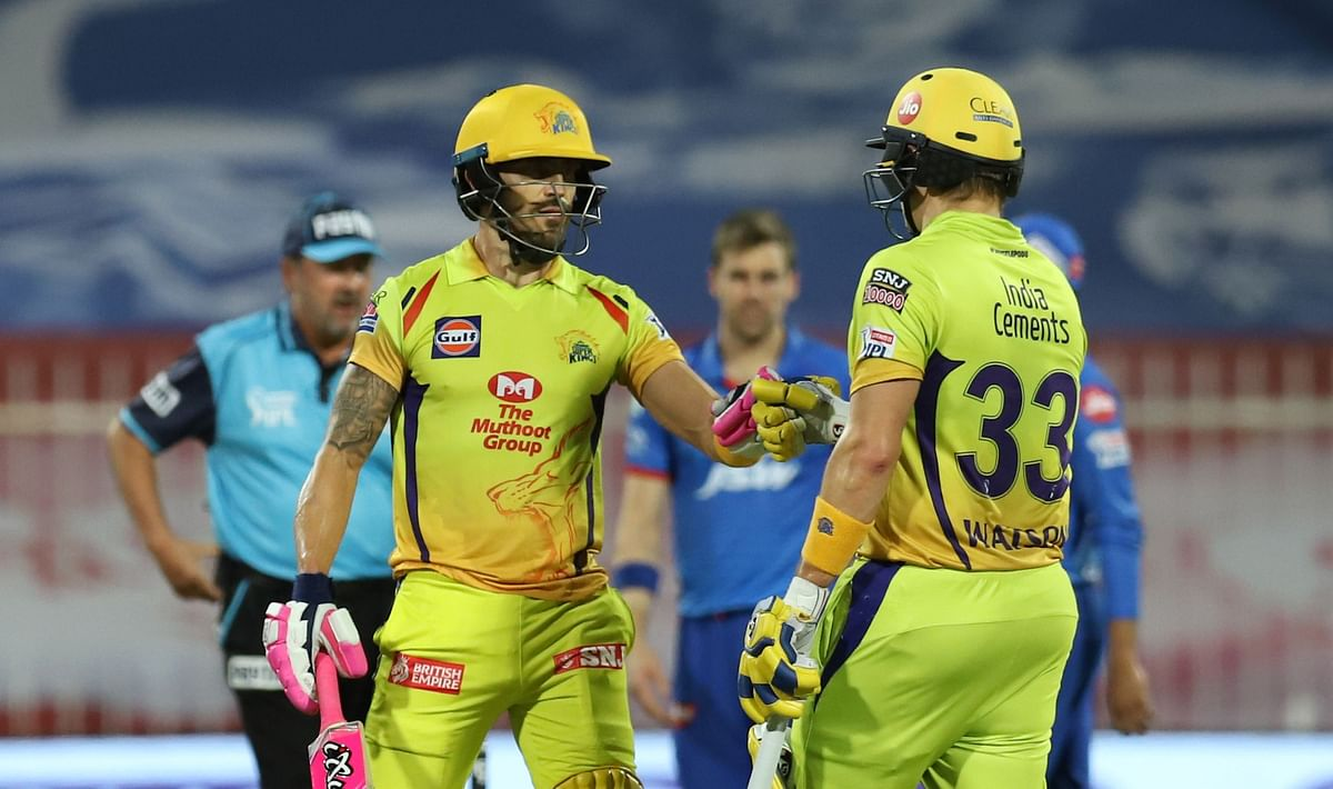 Faf du Plessis and Shane Watson stitched an 87-run partnership.