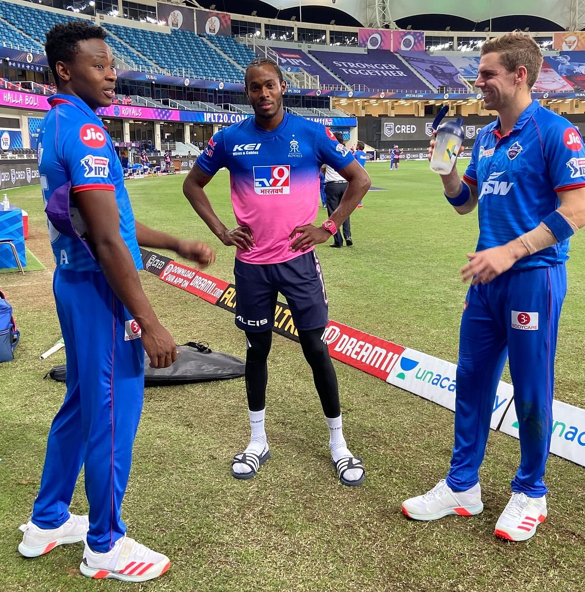 Kagiso Rabada, Jofra Archer and Anrich Nortje after the game