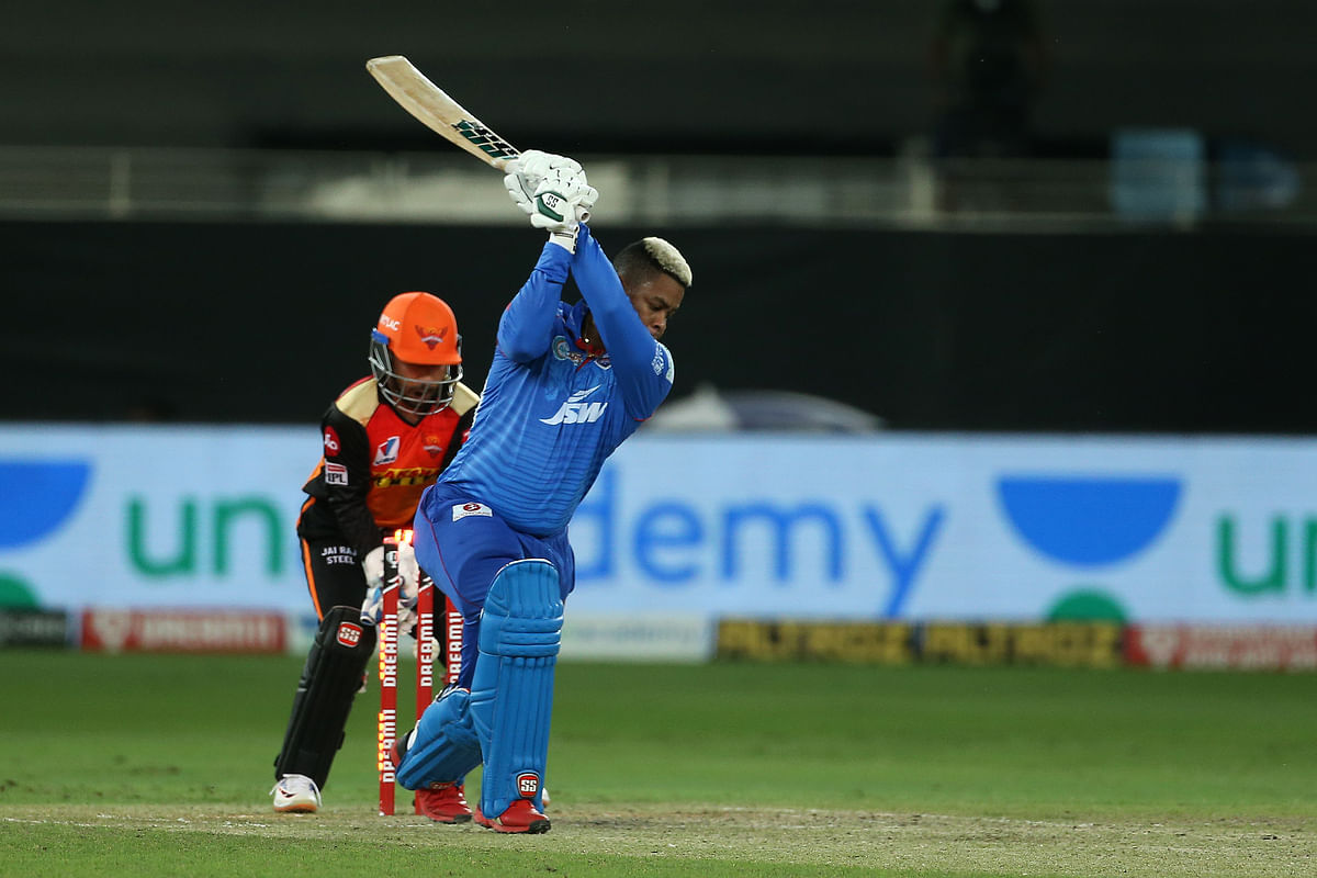 Shimron Hetmyer of Delhi Capitals is bowled by Rashid Khan of Sunrisers Hyderabad during match 47 of season 13 of the Dream 11 Indian Premier League.
