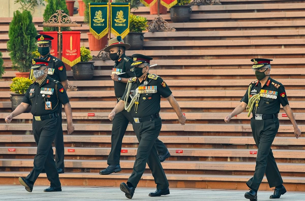 Chief of Defence Staff, General Bipin Rawat along with Chief of Army Staff, General MM Naravane at National War Memorial on Infantry Day, in New Delhi, Tuesday, 27 October.