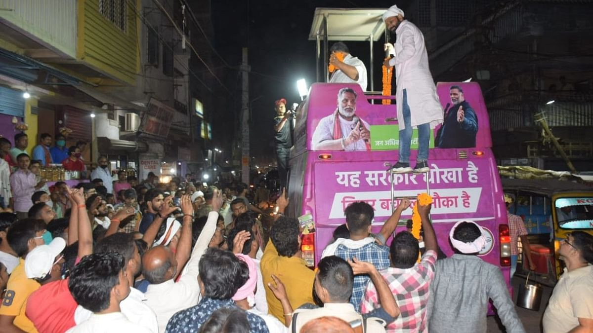 Jan Adhikar Party (JAP) chief Pappu Yadav addresses crowd during  election campaign ahead of Bihar Assembly elections, in Patna on 20 October 2020.