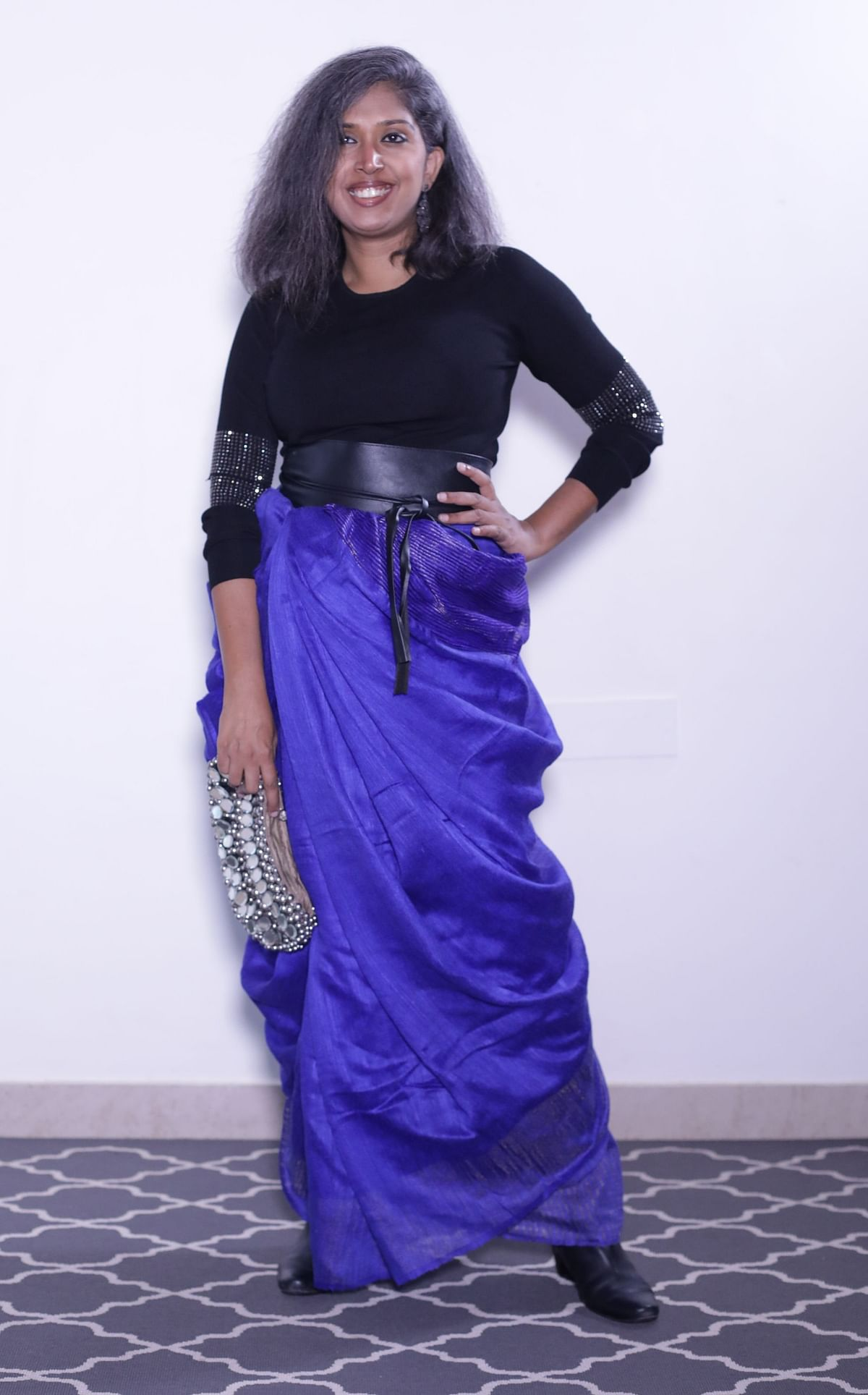 Looking stylish in this Andhra style drape.
