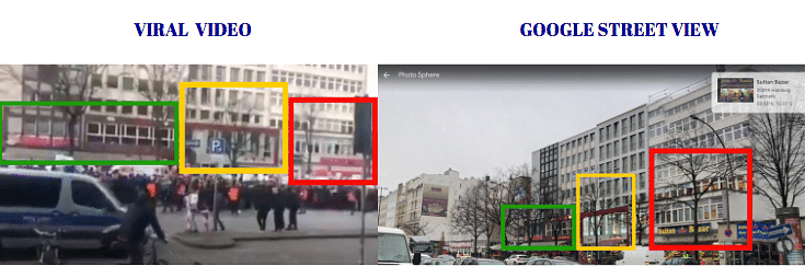 Left: Viral video. Right: Google street view.