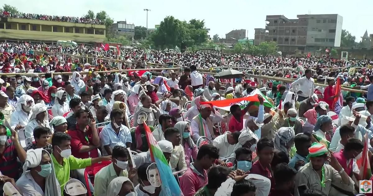 Many supporters at Congress-RJD rally didn't wear masks.