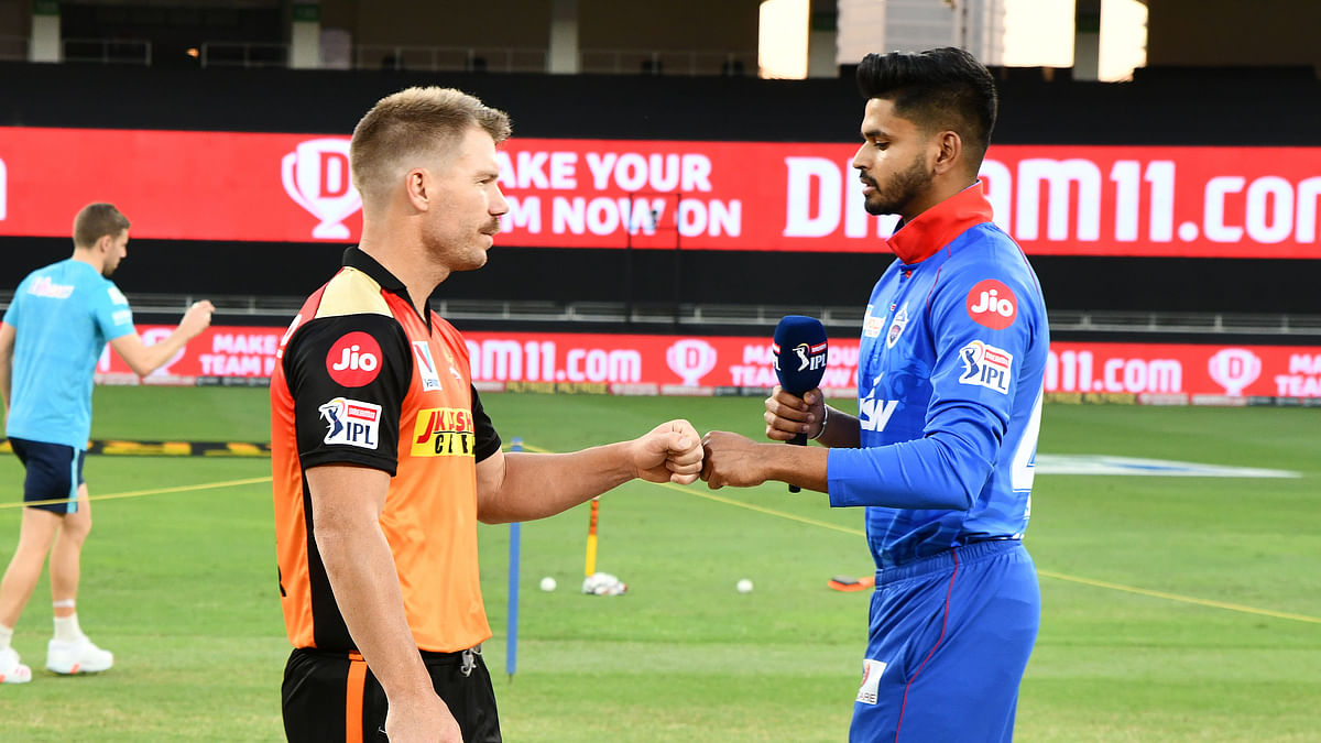 SRH Captain David Warner and DC Captain Shreyas Iyer during the Toss before the match 47 of season 13 of the Dream 11 Indian Premier League (IPL).