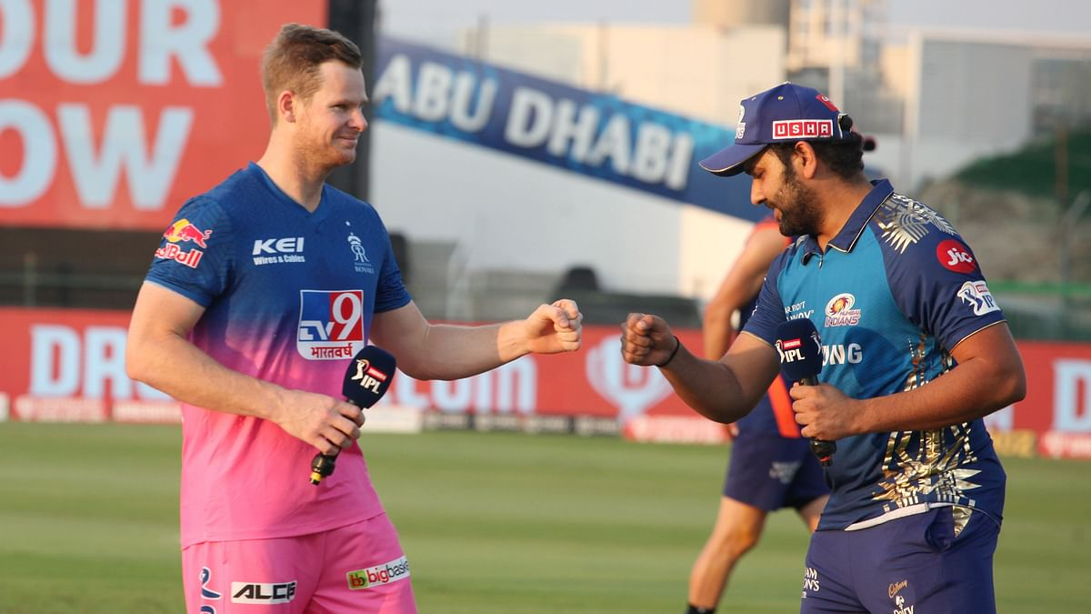 Rohit Sharma captain of Mumbai Indians and Steve Smith captain of Rajasthan Royals during the toss of the match 20 of season 13 of the Dream 11 Indian Premier League.