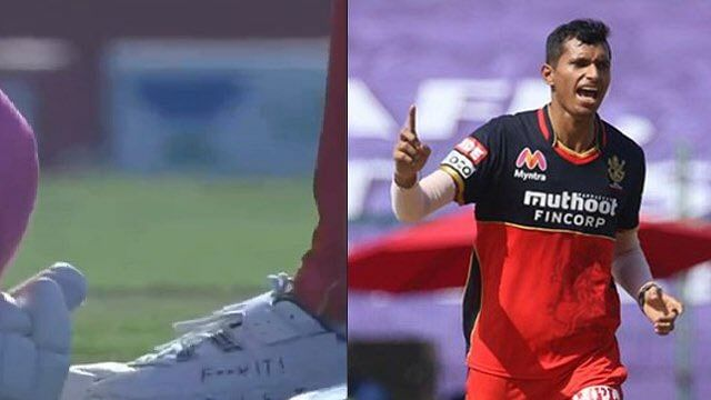 """""""F*** it! Bowl Fast"""": Words on Navdeep Saini's shoes catches the attention of social media."""