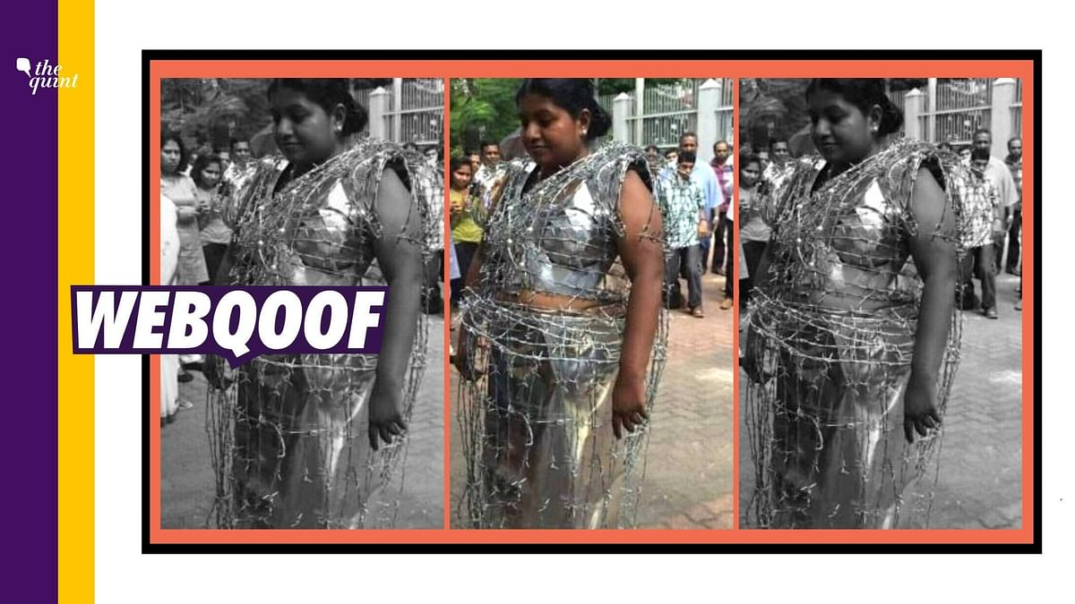 Image of a woman wearing a metal sheet as a sari with barbed wire wrapped around it is being widely shared with a claim that she is protesting over the Hathras Case.