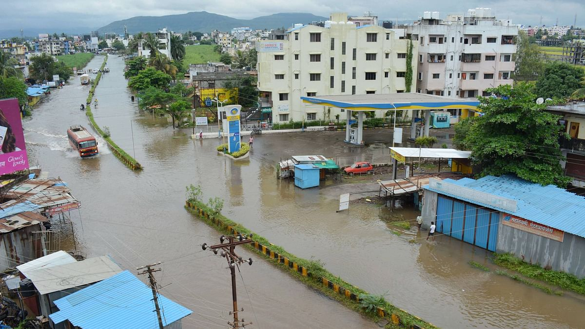 Karat city in Satara district was waterlogged on Thursday