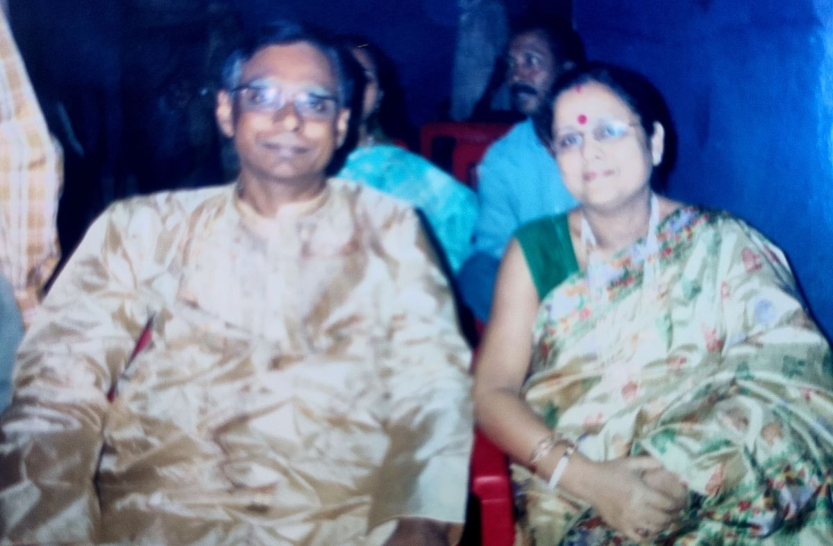 Late Narayan Mitra with his wife on their 25th marriage anniversary.