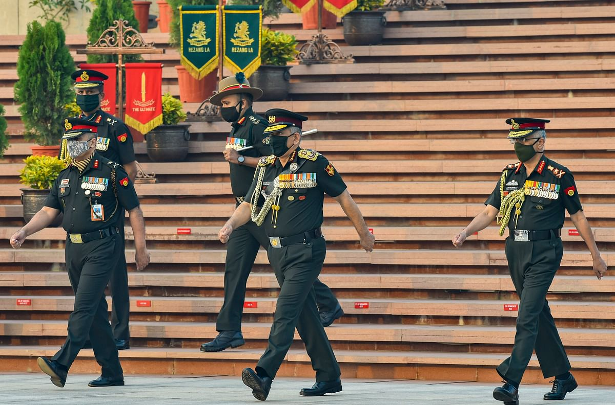Chief of Defence Staff, General Bipin Rawat along with Chief of Army Staff, General MM Naravane at National War Memorial on Infantry Day, in New Delhi, Tuesday, 27 October, 2020.
