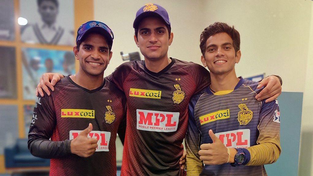 Shubman Gill with his Kolkata Knight Riders' teammates Shivam Mavi and Kamlesh Nagarkoti.