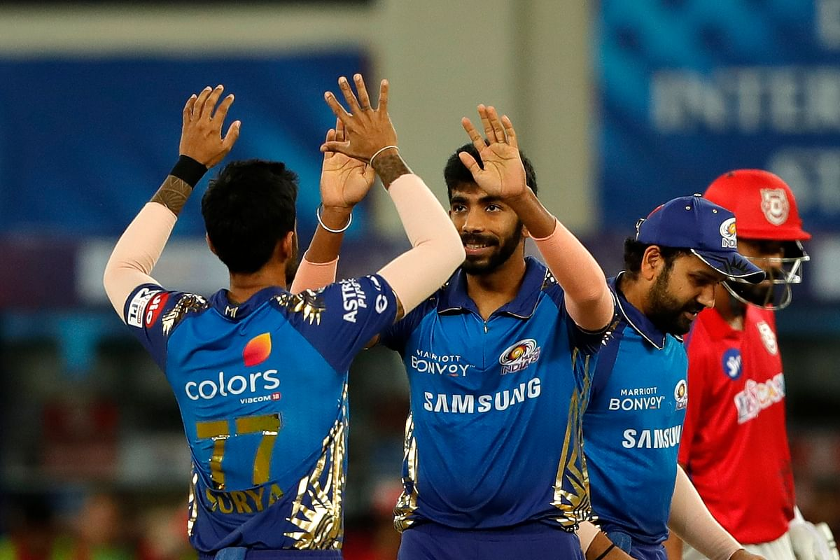 Jasprit Bumrah prevented KXIP from stitching a big opening stand as he cleaned up Mayank Agarwal for 11 in the fourth over.
