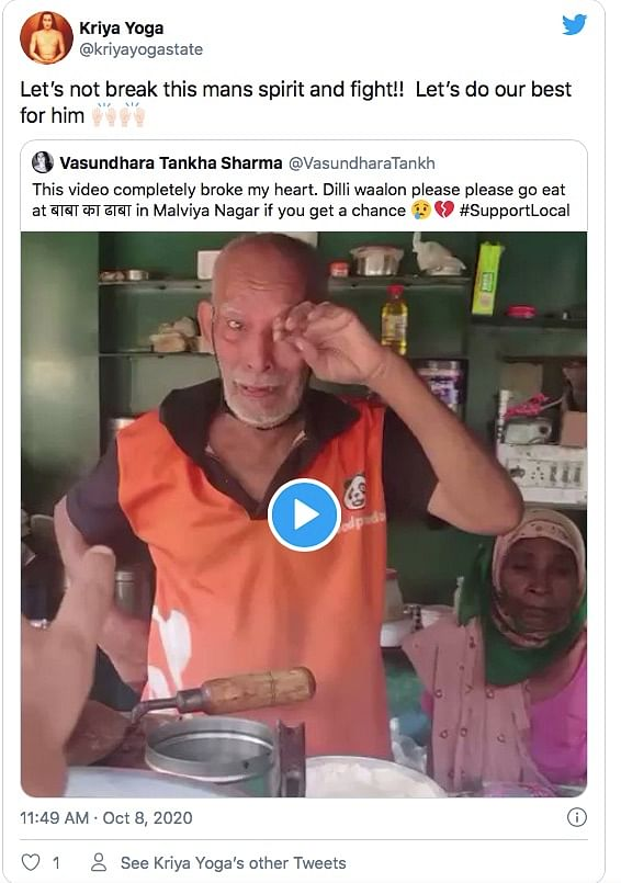 Twitter Comes Out In Support of Struggling 'Baba Ka Dhaba' Couple