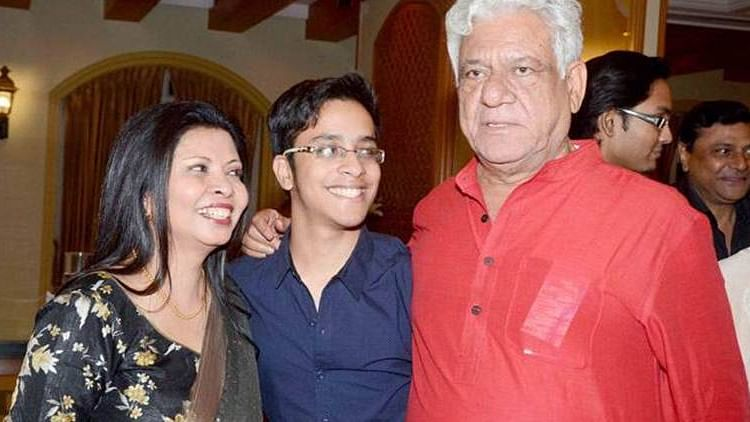 Om Puri with wife Nandita and son Ishaan.