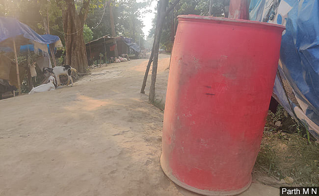 The 200-litre drum in a village of Muzaffarpur. The locals make hooch in such drums.