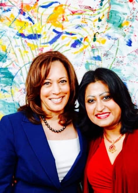 Democrat Vice-President candidate Kamala Harris with Harini Krishnan, Democratic Organiser.