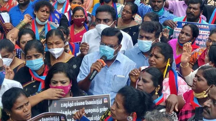 VCK cadre have been protesting since 24 October, demanding state and union governments to ban Manusmriti, which is considered to be a code of conduct for Hindu society.