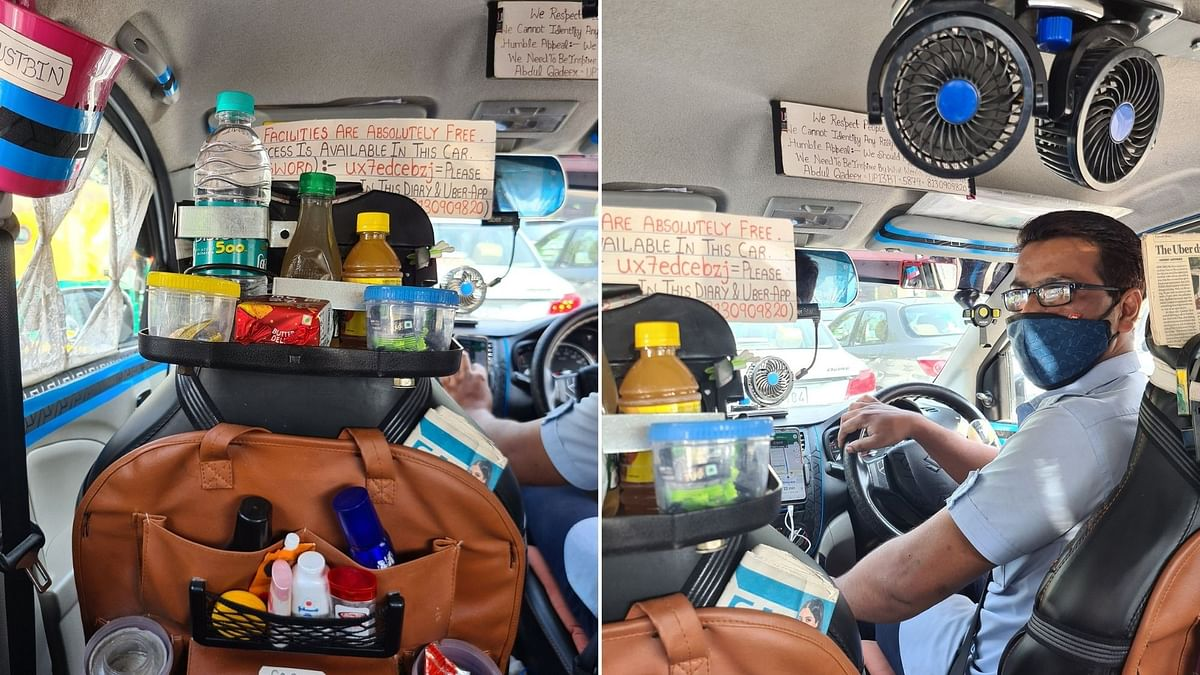 Uber Driver's Cab Has Sanitizer, Snacks & Messages on 'Humanity'