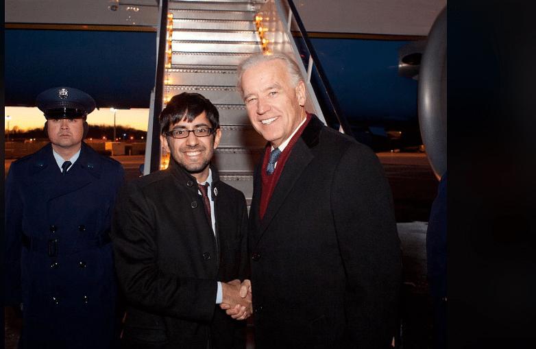Nel Makhija and Biden.