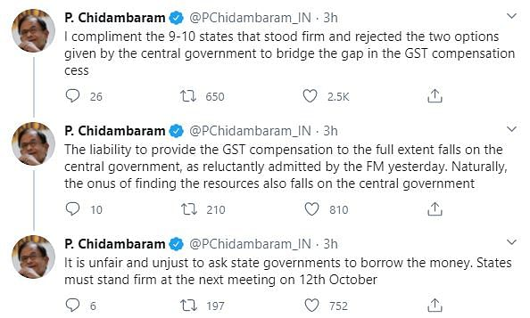 GST Row: Chidambaram 'Compliments' States That Refused to Borrow