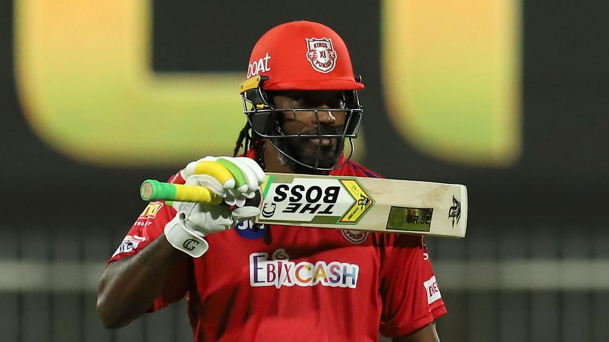 Chris Gayle celebrating a half century during IPL 2020.