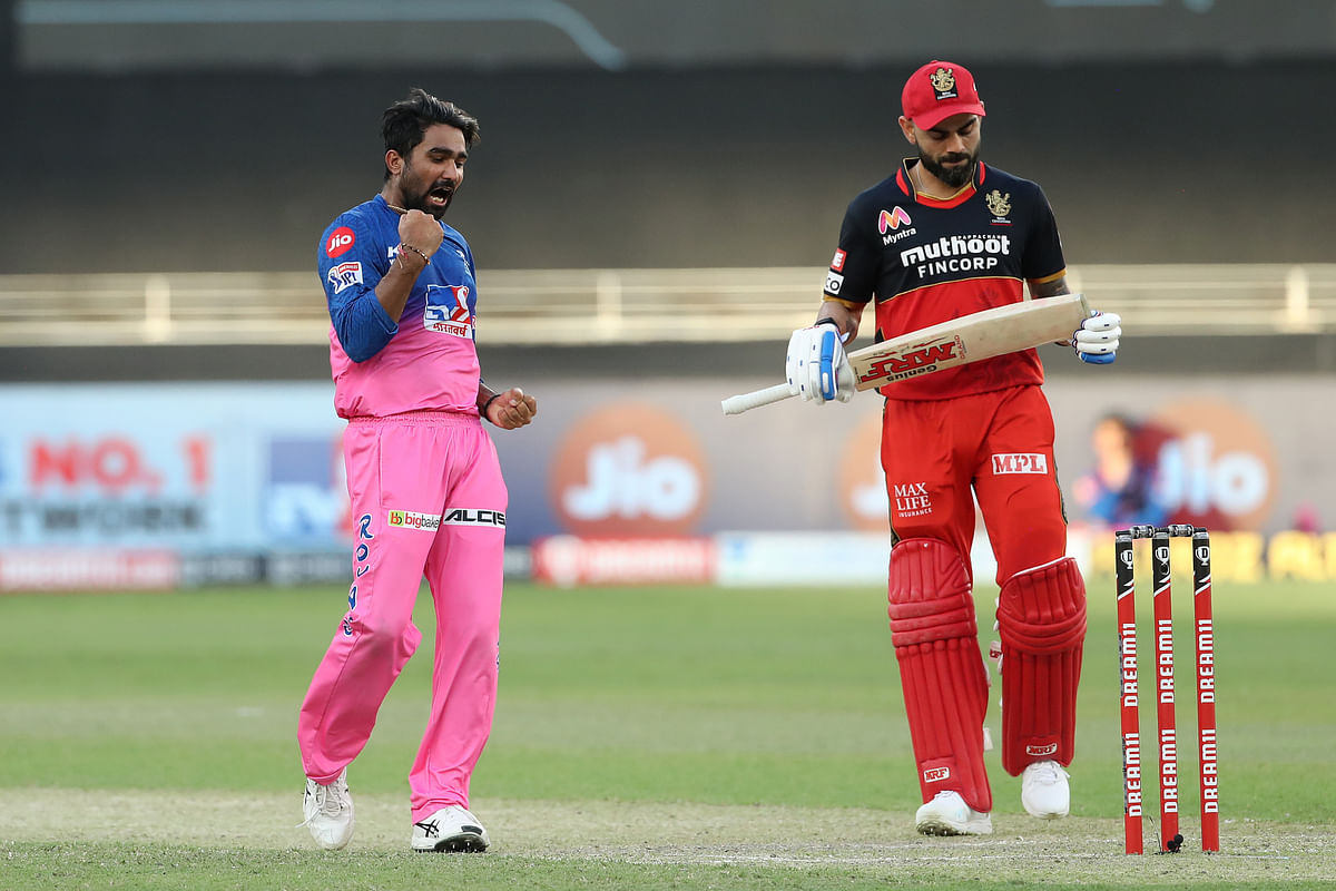 Tewatia removed Padikkal for 35 (off 37 balls) and then took a stunning catch at the boundary off Kartik Tyagi's delivery, sending Kohli packing for a 32-ball 43.