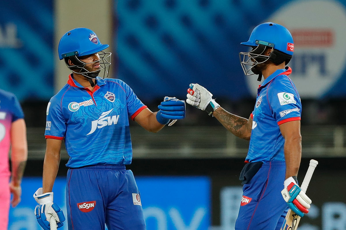 Opener Shikhar Dhawan along with captain Shreyas Iyer steadied Delhi Capitals' innings with an 85-run stand.